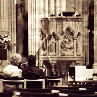 Couple in Exeter cathedral