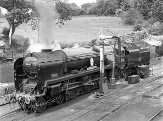 Locomotive taking on water at Bridgnorth