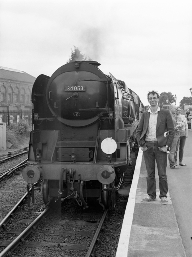 Fraser with steam train at Kidderminster station