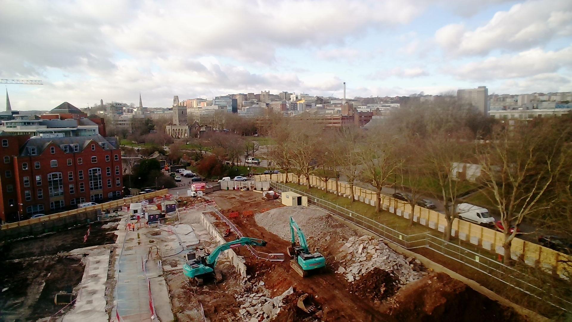 Castle Park View construction site - wide angle view